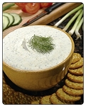 Cucumber-Dill  This dip mix continues to be very popular with this combination of flavors. Use for dipping crackers, fruit,etc.  Fill a round bread for a delicious bowl for dipping raw veggies.