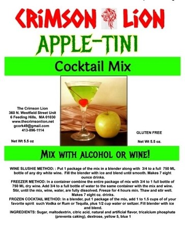 Appletini Wine Slush Cocktail Mix: Make a delicious wine slush drink or serve an Apple Martini. Originally called Adam's Apple Martini, as the bar tender creator's name was Adam.