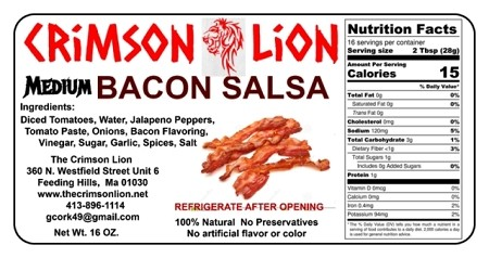 Bacon Salsa- 16 oz.:  Bacon Salsa is a long time favorite and we use with tortilla chips and excellent with a Cheese omelet with the bacon. flavor.