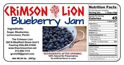 Blueberry Jam 20 oz. So delicious with vanilla ice cream or on toast.