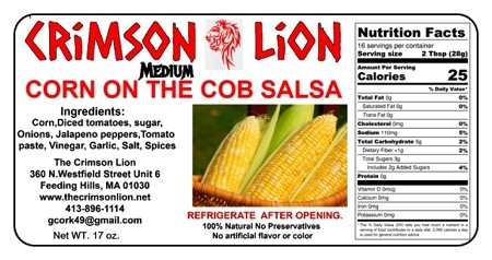 Corn On The Cob Salsa-16 oz.  Scooped up with tortilla chips or spoon over fillet of fish is the ultimate for corn salsa lovers. Buy qty 1-4 for 10% discount off regular price