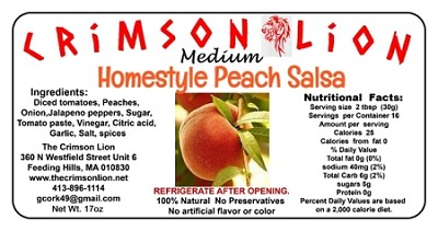 Georgia Peach Salsa-17 oz  Yummy with chips or try as a topping for fish or pork