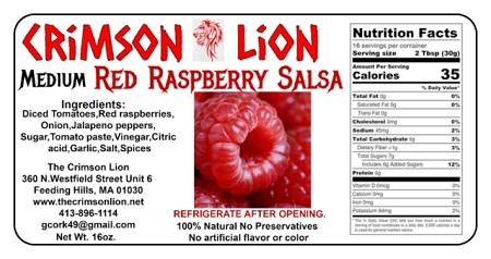 Red Raspberry Salsa-17 OZ   Very tasty and used as a topper for pork and other savory foods. Buy quantity of 1-4 for a 10% discount off the regular price